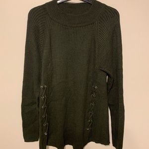 Style & Co Lace-Up Mock-Turtleneck Green Sweater